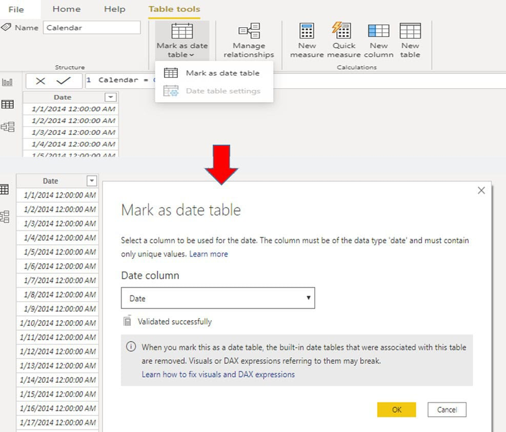 Mark as calendar table in power bi