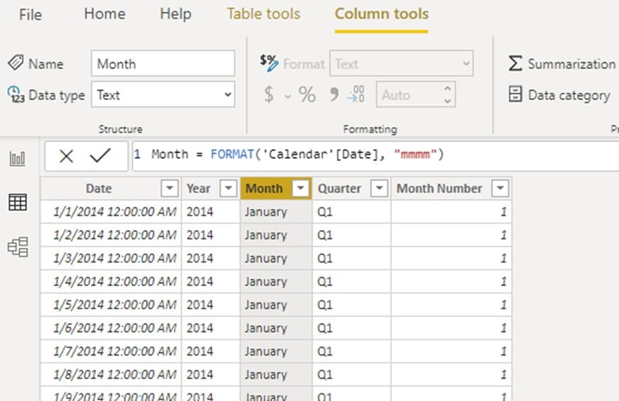 Create MONTH NUMBER column in power bi