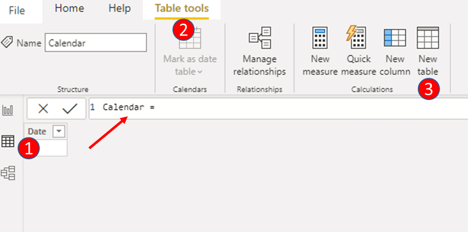 create an empty table and name it as 'Calendar'
