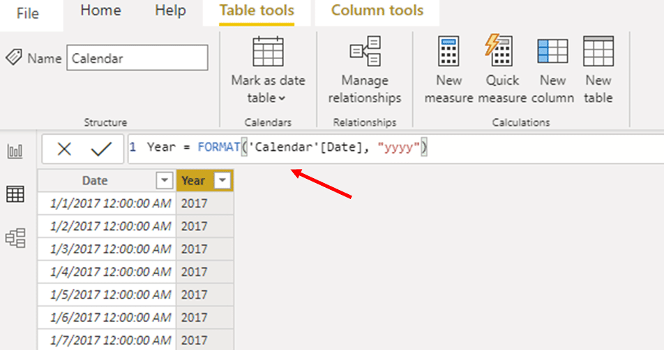 Navigate to the 'Column tools' tab and select 'New column'