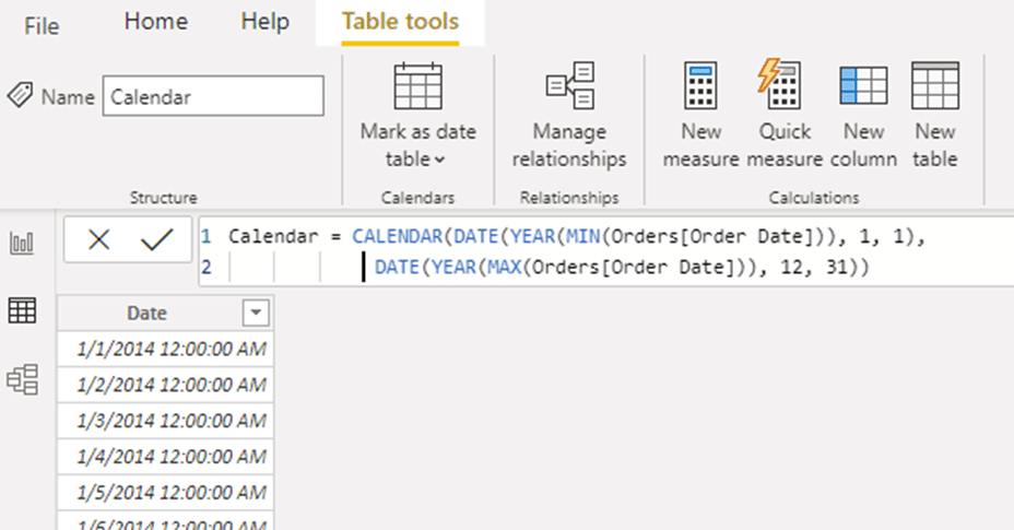 straightforward formula that can be used for Calendar table