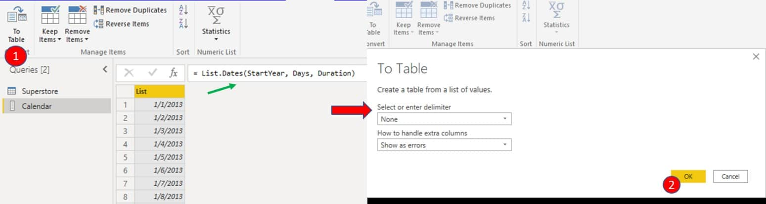 Convert into a table by navigating to the upper left corner of the tab and selecting 'To Table', then hit 'Ok'