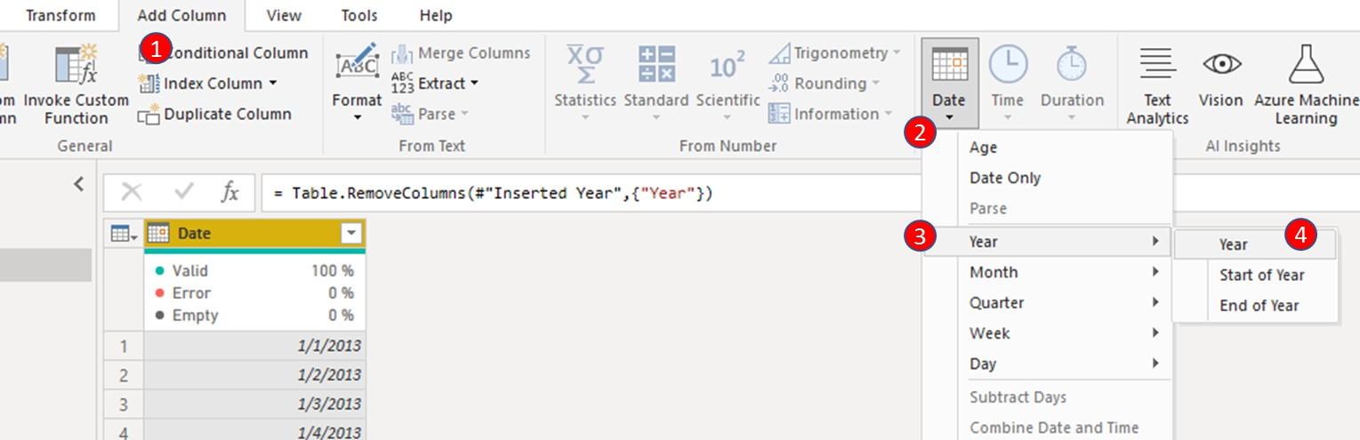 Navigate to the 'Add Column' tab, click Date, select Year then select Year to create a new column; Year