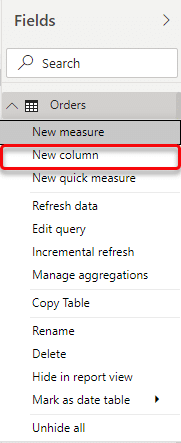 how to create a new column in Power BI method 1