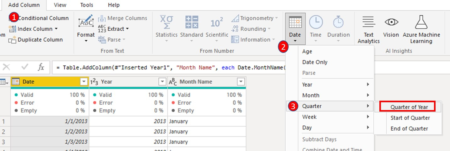 And lastly; Quarter. Same procedure as 10. & 11. above, highlight Date, navigate to Date & select 'Quarter of Year'