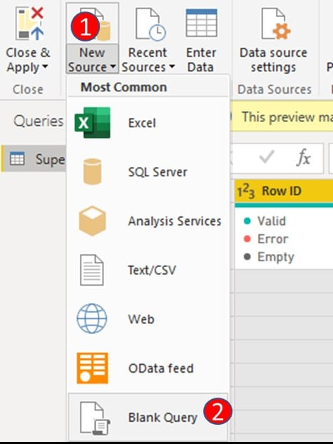 create a 'blank query' which will be the host for the Calendar Table in power query window