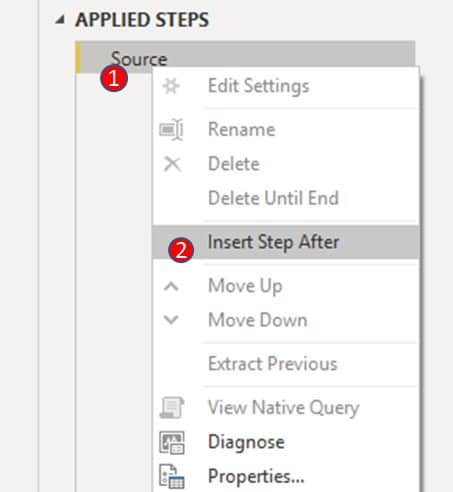 right click on 'source' under 'applied steps' and click 'insert step after'