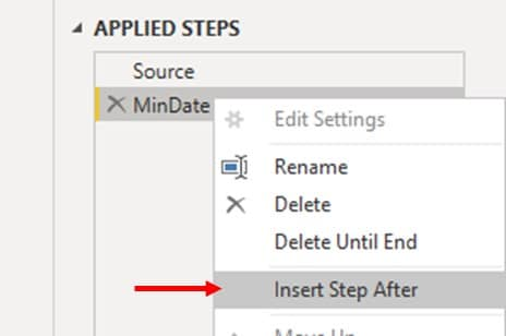 newly created 'MinDate' under 'applied steps' & 'insert step after'.