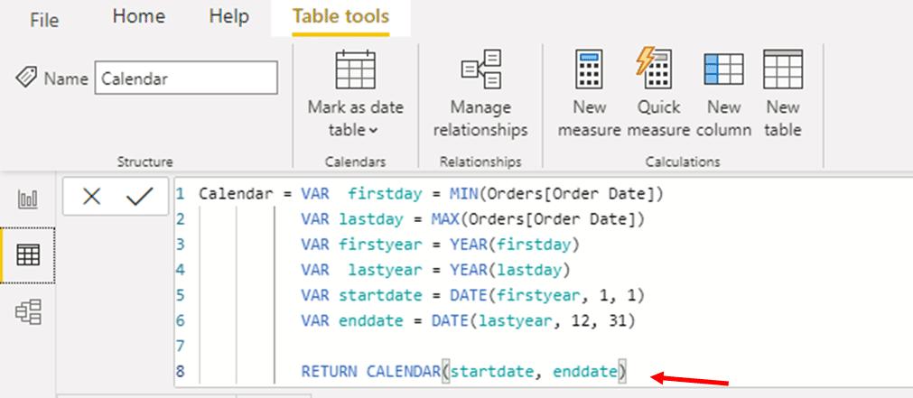 Type in the formula; RETURN CALENDAR(startdate, enddate)