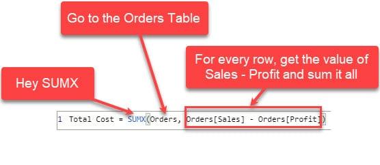 Explaining sumx for multiple columns