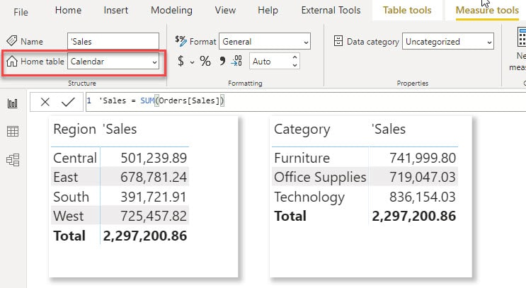 How to change the location of a DAX Measure in Power BI