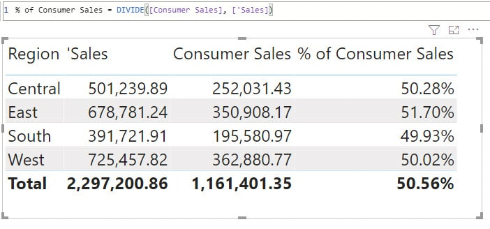 Creating a percentage measure in Power BI