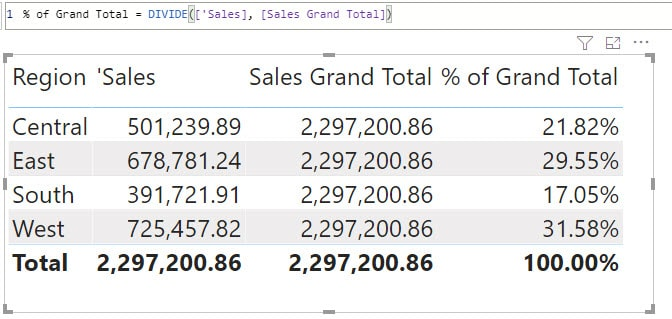 creating percentage of total in Power BI