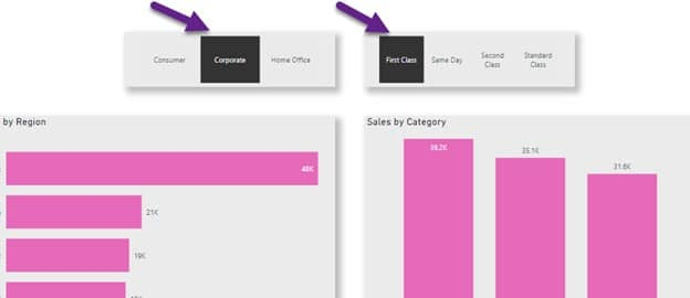 Power BI Report with Slicer Button