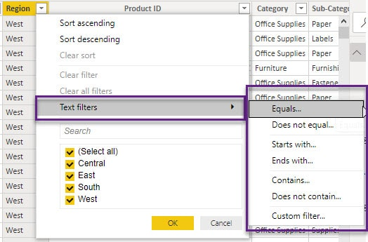 How to use custom table filter in Power BI