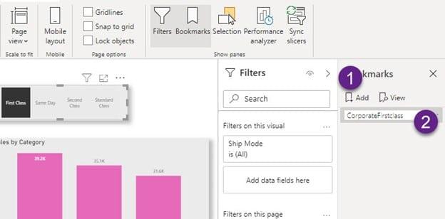 Create a Power BI Bookmark