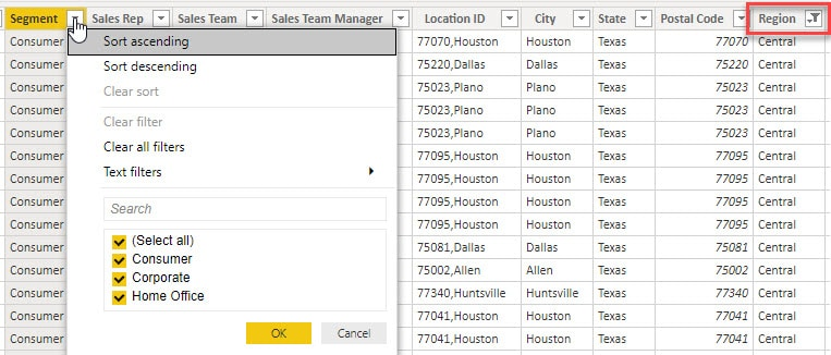 Filtering a Data Table in Data View