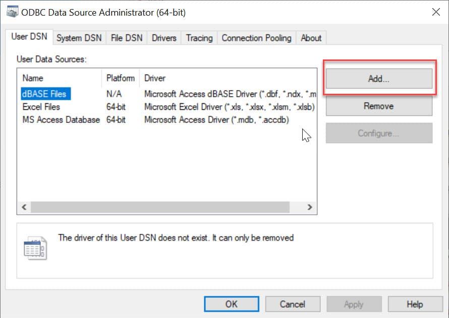 Add a User DSN