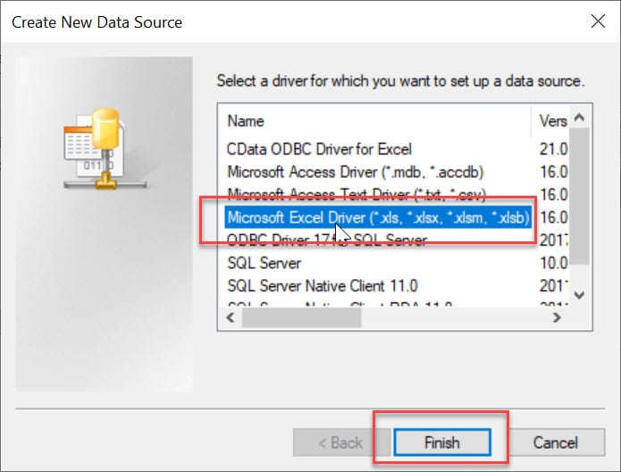 Select Excel Driver