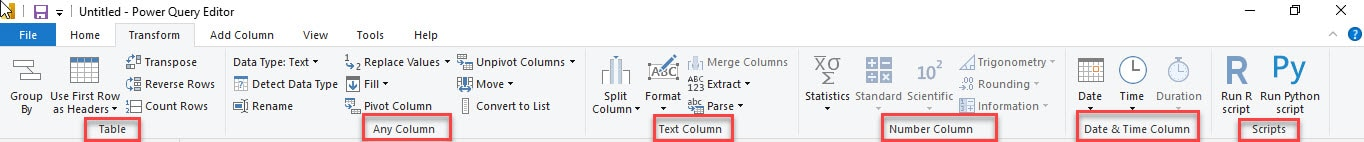 Grouping under the Transform Tab